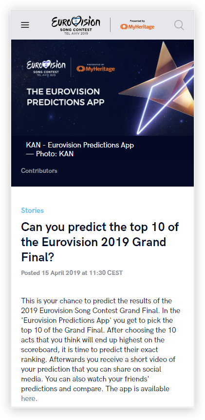 The prediction game on the official Eurovision website