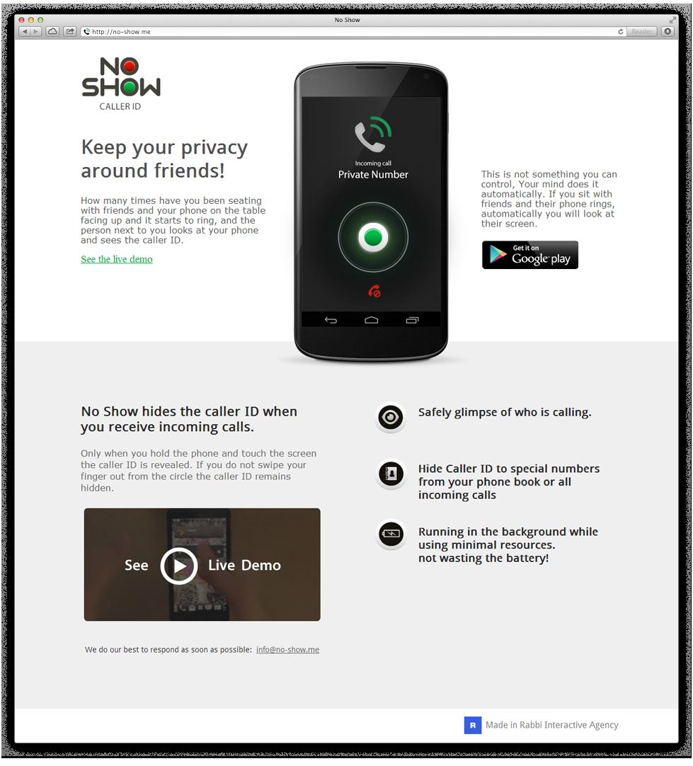 מיניסייט ייעודי שהוקם לחברת ההזנק ולאפליקציה Mini-site dedicated to start-up and application