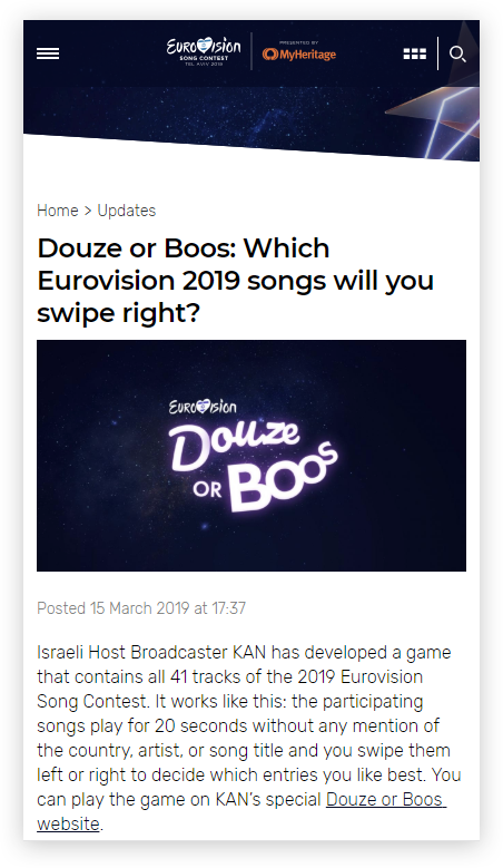 Douze or Boos on Eurovision official site