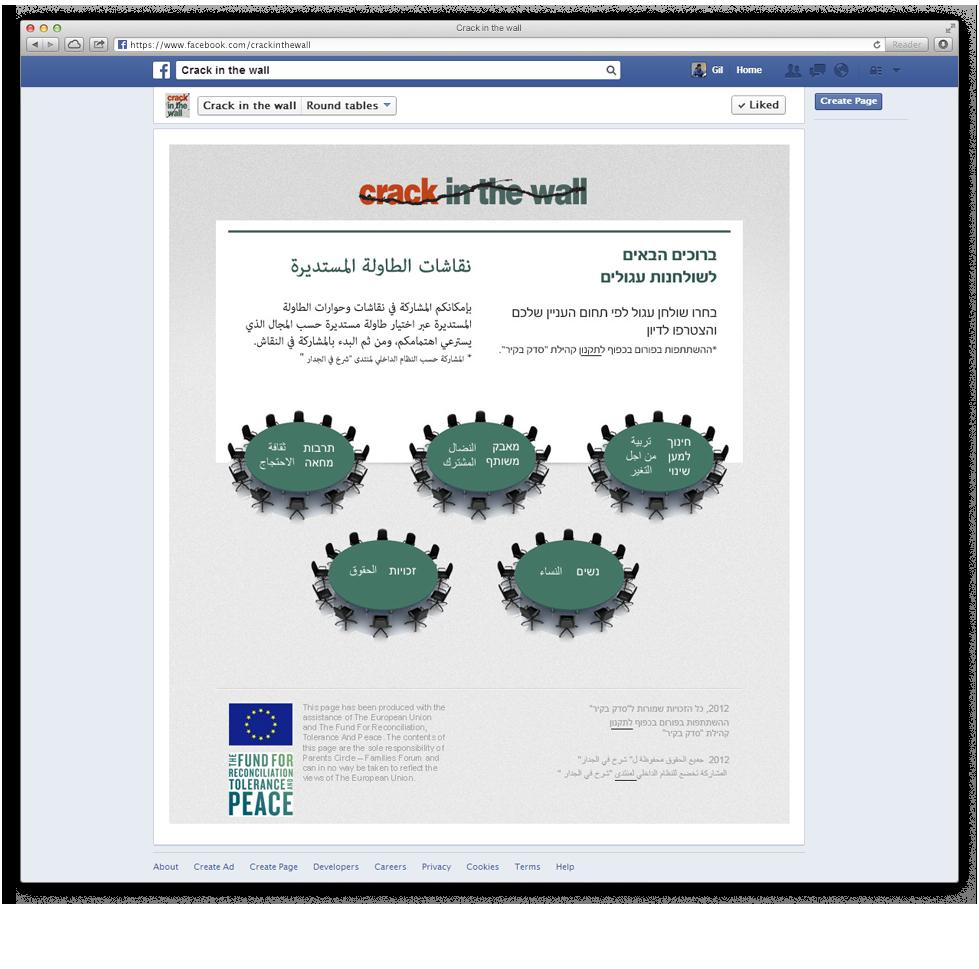 אפליקציית השולחנות העגולים בתוך פייסבוק