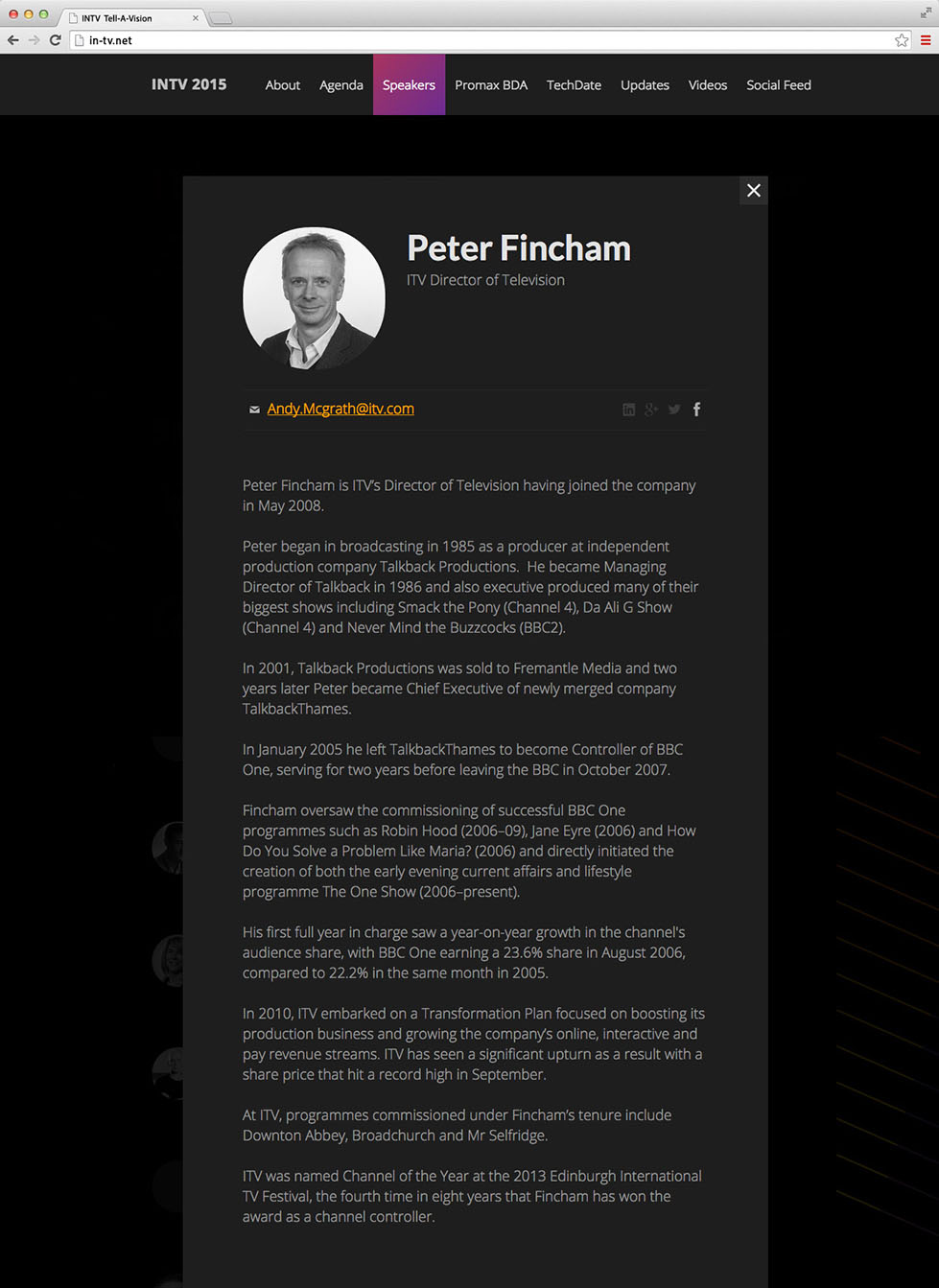 Speaker page on the desktop site, INTV conference