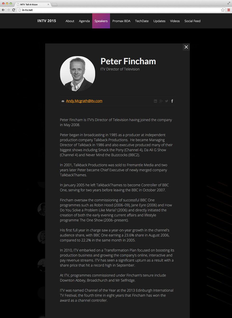 Speaker page on the desktop site, INTV conference