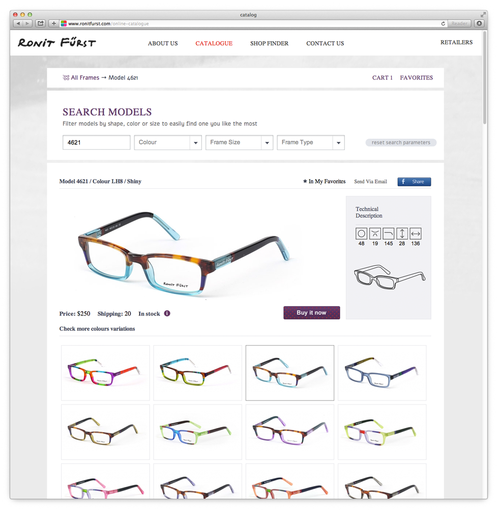 Displaying the Shape of the Glasses and the Option of Choosing Colors for Each Shape