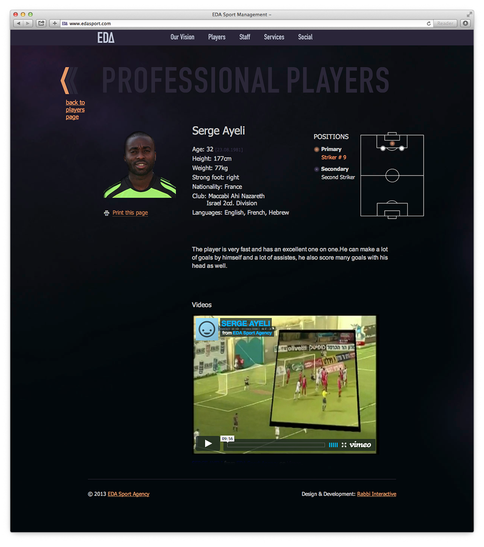 full player profile display